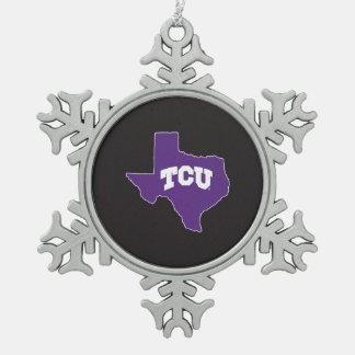 TCU Texas State Snowflake Pewter Christmas Ornament
