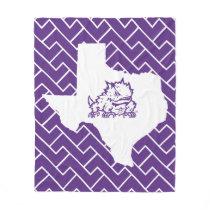 TCU Texas State with Horned Frog | Fret Fleece Blanket