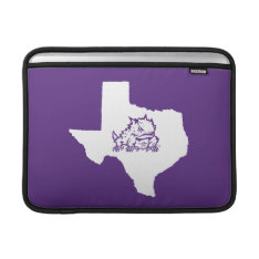 Tcu Texas State With Horned Frog Macbook Sleeve at Zazzle