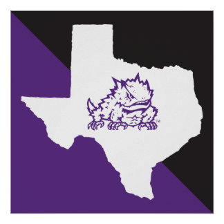 TCU Texas State with Horned Frog Poster