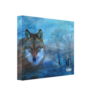 TCWC - 11x13 Blue Wolf Christmas Canvas Print