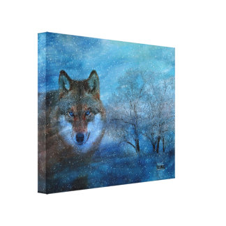 TCWC - 16x20 Blue Wolf Snowy Winter Canvas Print