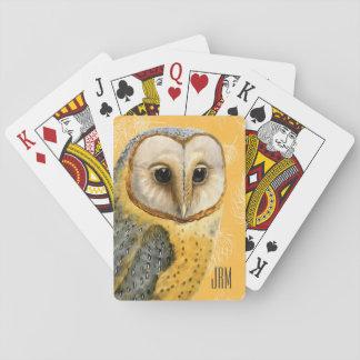 TCWC - Barn Owl Vintage Monogrammed Poker Cards