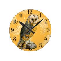 TCWC - Barn Owl Vintage Round Clock