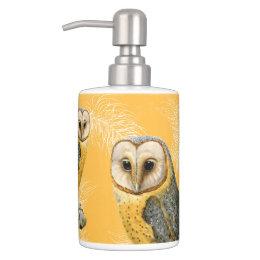 TCWC - Barn Owl Vintage Soap Dispenser & Toothbrush Holder