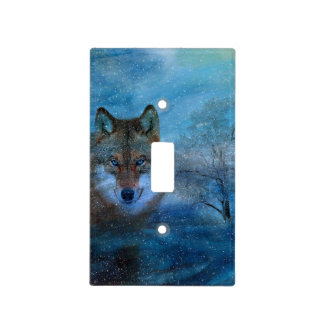 TCWC - Blue Wolf Christmas Light Switch Plate