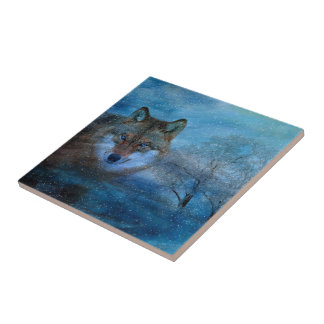 TCWC - Blue Wolf Christmas Small Square Tile
