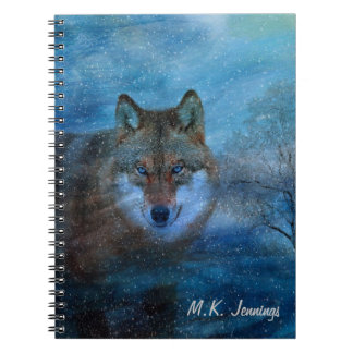 TCWC - Blue Wolf Christmas Spiral Notebook