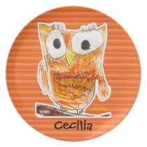 TCWC Designer Owl in Orange   Youth Art Project Plate