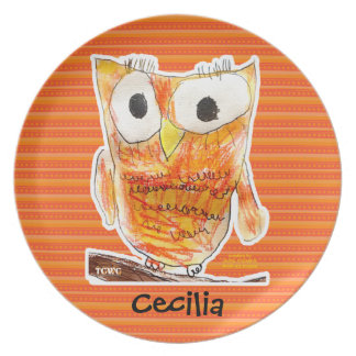 TCWC Designer Owl in Orange | Youth Art Project Plate