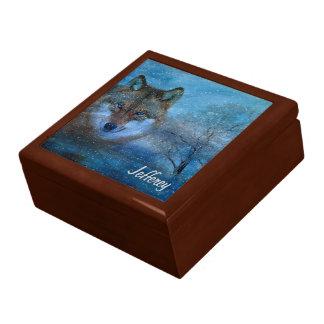 TCWC - Navidad azul del lobo Joyero Cuadrado Grande