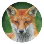TCWC - Pintura de la acuarela del Fox rojo Plato De Comida