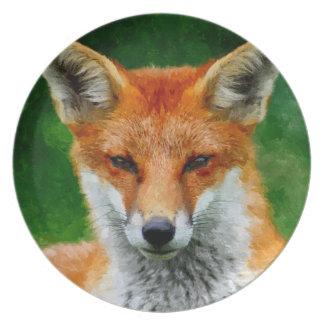 TCWC - Pintura de la acuarela del Fox rojo Platos