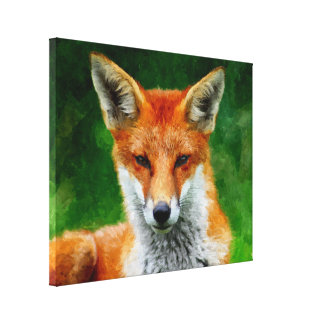TCWC - Red Fox Watercolor Painting on Canvas 8x10