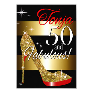 TD 50 & Fabulous Glitter Stiletto Birthday Card