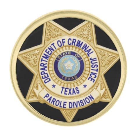 TDCJ Parole Division Mini Badge Lapel Gold Finish Lapel Pin