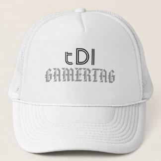tDI white trucker cap, featuring gamertag. Trucker Hat