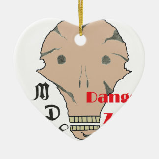 TDM ZONE.png DANGER Double-Sided Heart Ceramic Christmas Ornament