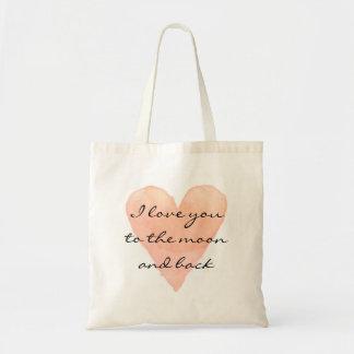 Te amo a la bolsa de asas de la cita de la luna y