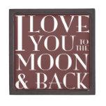 Te amo a la caja de regalo superior de la luna y d caja de recuerdo de calidad