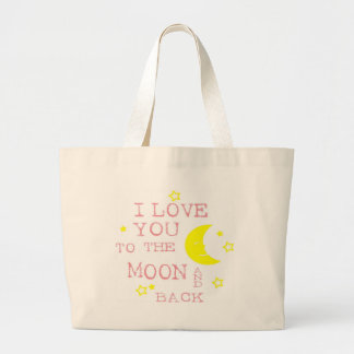Te amo a la cita de la luna y de la parte posterio bolsa lienzo