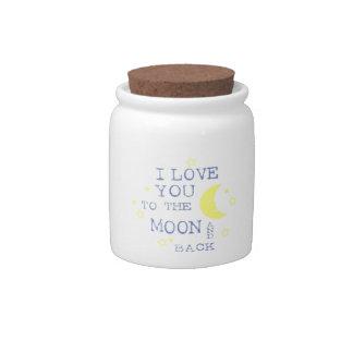 Te amo a la cita de la luna y de la parte posterio jarra para caramelo