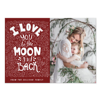 """Te amo a la foto del rojo de la luna y de la parte invitación 5"""" x 7"""""""