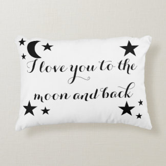 Te amo a la luna y a la almohada trasera del
