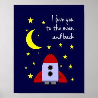 Te amo a la luna y a la impresión trasera del arte poster