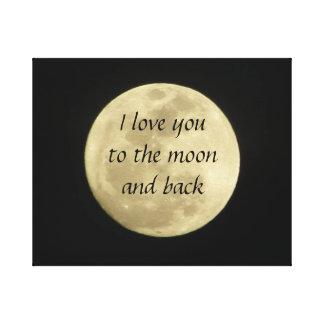 Te amo a la luna y a la lona de arte trasera impresion de lienzo