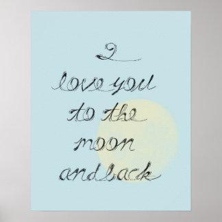 Te amo a la luna y a la parte posterior poster