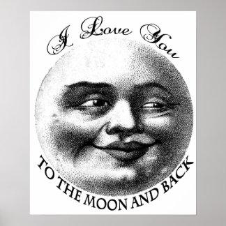 Te amo a la luna y a la parte posterior posters