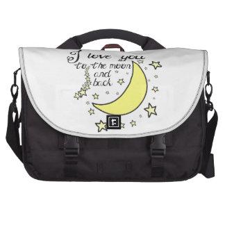 Te amo a la luna y a la parte posterior bolsa de ordenador
