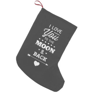 Te amo a la luna y a la parte posterior bota navideña pequeña