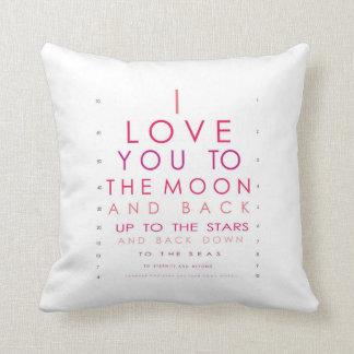 Te amo a la luna y a la parte posterior cojines