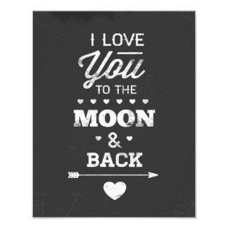 Te amo a la luna y a la parte posterior cojinete