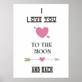 Te amo a la luna y a la parte posterior con los póster
