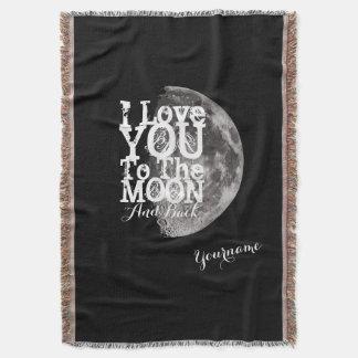 Te amo a la luna y a la parte posterior con nombre manta