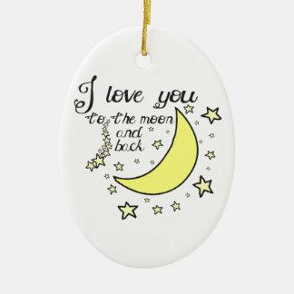 Te amo a la luna y a la parte posterior adorno ovalado de cerámica