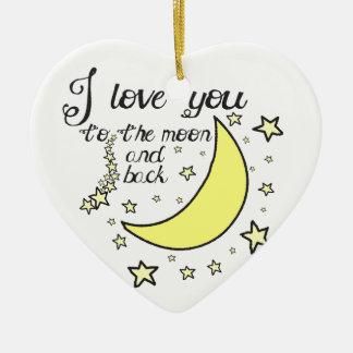 Te amo a la luna y a la parte posterior adorno de cerámica en forma de corazón