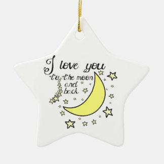 Te amo a la luna y a la parte posterior adorno de cerámica en forma de estrella