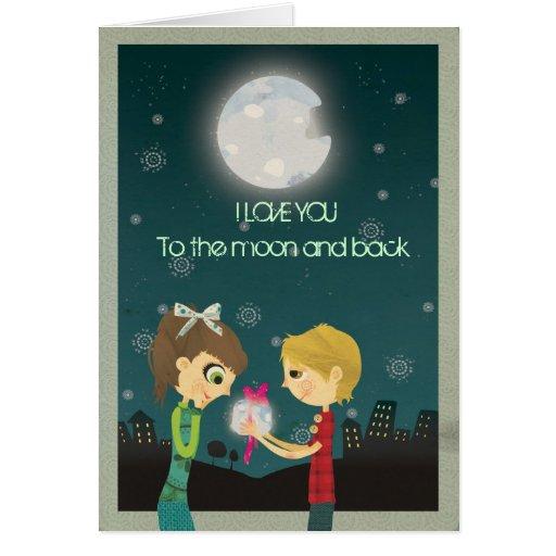 Te amo a la luna y a la parte posterior - GCard Tarjeta De Felicitación