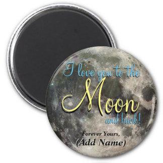 Te amo a la luna y a la parte posterior iman de frigorífico