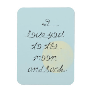 Te amo a la luna y a la parte posterior iman rectangular
