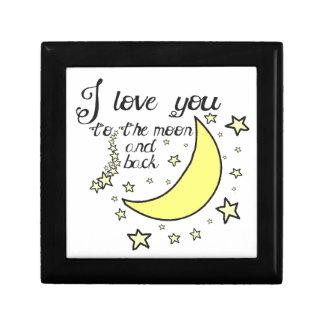 Te amo a la luna y a la parte posterior joyero cuadrado pequeño