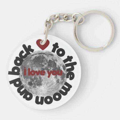 Te amo a la luna y a la parte posterior llavero