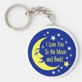 Te amo a la luna y a la parte posterior llaveros