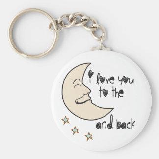 Te amo a la luna y a la parte posterior llavero personalizado