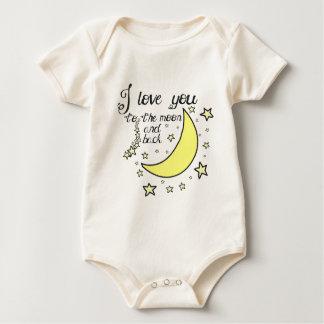 Te amo a la luna y a la parte posterior mameluco de bebé