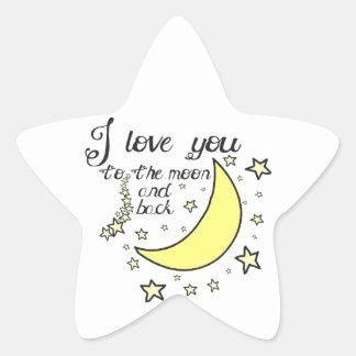Te amo a la luna y a la parte posterior pegatina en forma de estrella